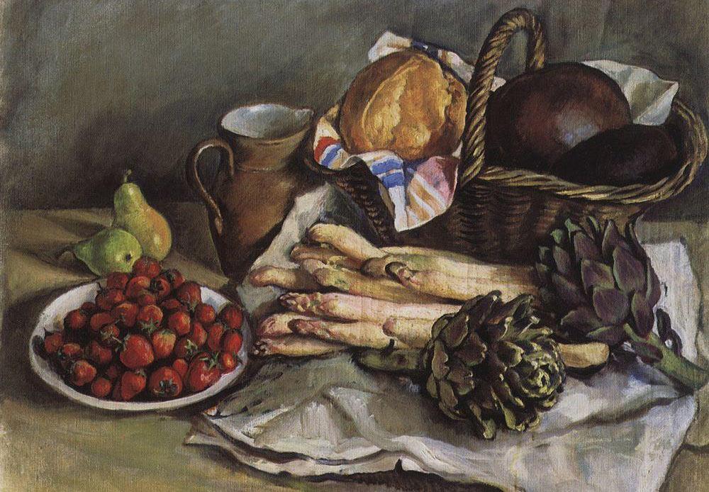 アスパラガスとイチゴの静物画、ジナイダ・セレブリャコーワ、1932年