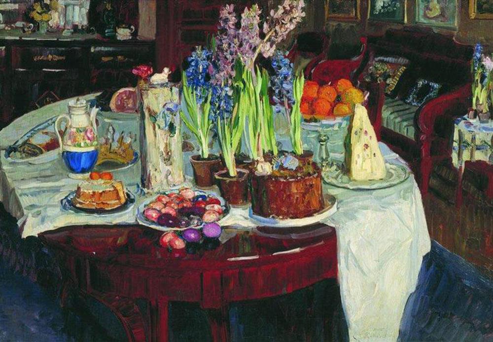 静物画、「ハリストスは昇天召された!」、ニコライ・ボグダノフ=ベルスキー、1915年