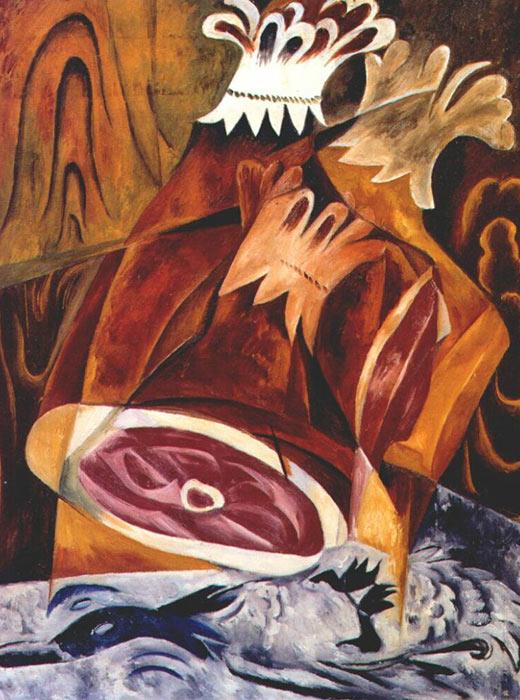 ハムの静物画、ナタリア・ゴンチャロワ