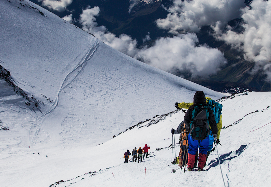 Climbing Elbrus starts from ropeway-station Gara-Bashi which is located at an altitude of 3850 m.