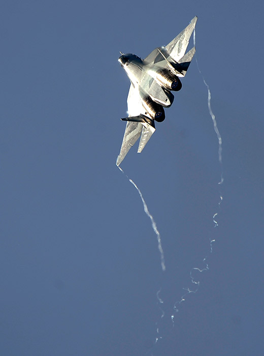 T-50 PAK FA adalah pesawat tempur multiperan taktis masa depan generasi kelima, yang hingga saat ini direncanakan baru dikirim pada 2016. Pesawat ini tengah diuji di Akhtubinsk dan terkadang tampil di MAKS dan Aviadarts, pertunjukan udara paling penting di Rusia.