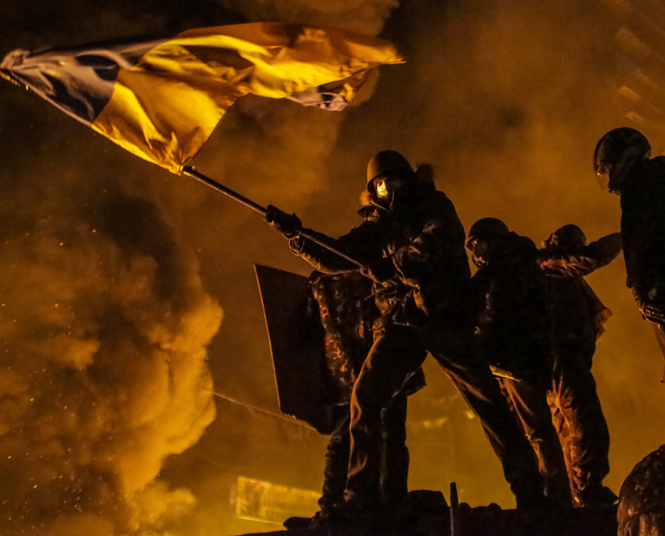 Proponents of Ukraine's integration with Europe take part in clashes with police divisions in the center of Kiev. 2014