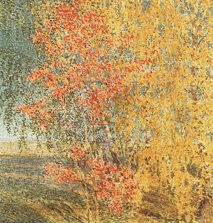"""Ruska jesen inspirirala je ne samo realiste nego i impresioniste. Slika """"Jesen. Oskoruša i breza"""" prikazuje uobičajeno bogatstvo boja, ali je naslikana ponešto drugačije od tradicionalnijih pjezaža. // Igor Grabar """"Jesen. Oskoruša"""", 1924."""