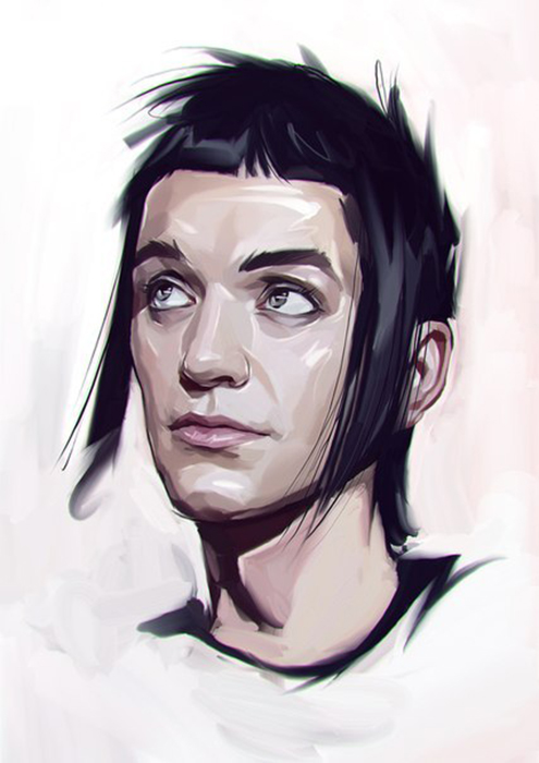 This is how he describes his work: «Design, raw, dark, ironic, absent of excessive joy and happiness». // Portrait of Brian Molko