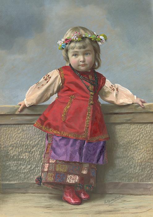 Portrait d'une petite fille en costume ukrainien, années 1900