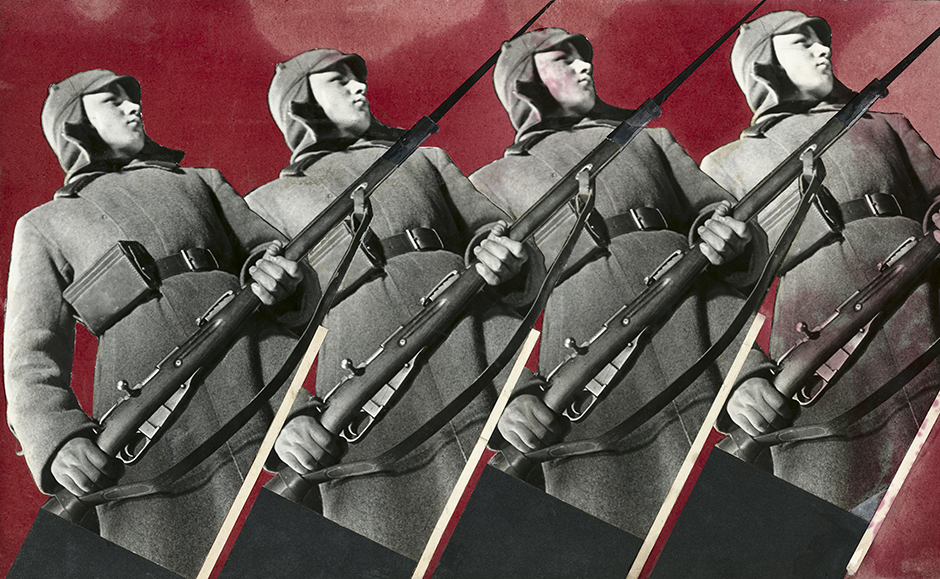 露出を最小限に抑えながら、青・緑・赤のフィルターを通して、3枚の写真を素早く連続撮影した。彼はこれらの3枚のネガを使って3枚の写真を現像した。// 赤軍兵士。「海外」誌に掲載された合成写真、1930年。