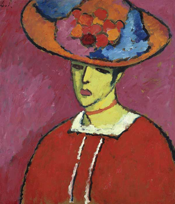 "Alexej von Jawlensky ""Schokko with Wide Brimmed Hat"", 1910, £9.43 million. Schokko is not a name, but rather a nickname. Every time the model came to the artist's studio, she asked for hot chocolate, thus earning herself the nickname ""Schokko""."
