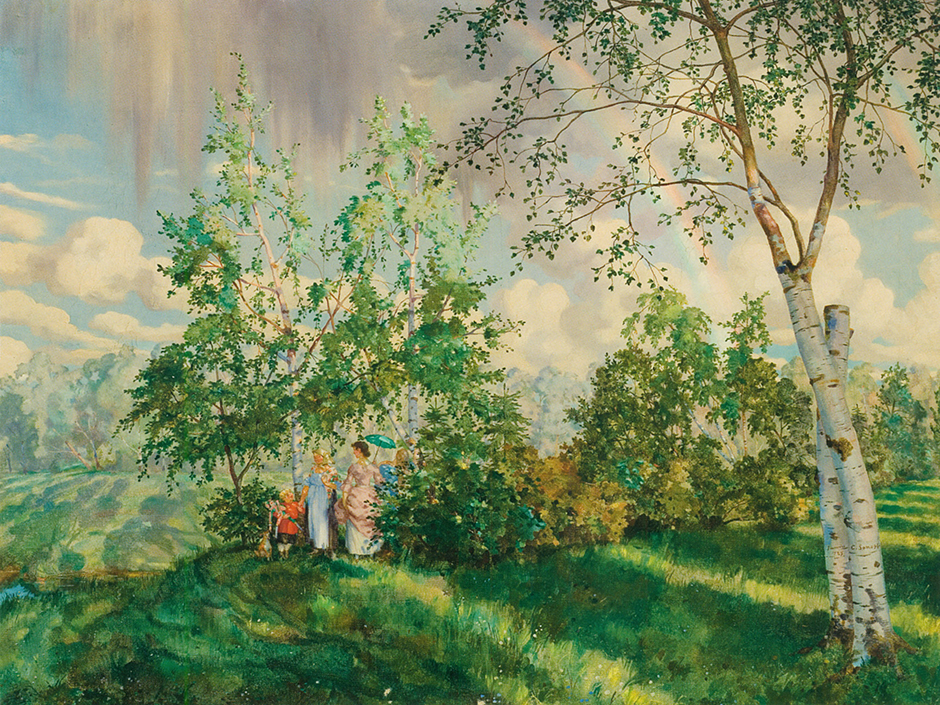 "Konstantin Somov, ""The Rainbow"", 1927 - £3.7 million. The year before the global financial crisis struck, 2007, the sale of this painting for such a colossal sum was cause for sensation. The painting became the most expensive art work sold at Russian Art Week, the name given to the several days when the main auction houses in the world's international auction capitals sell only Russian art."