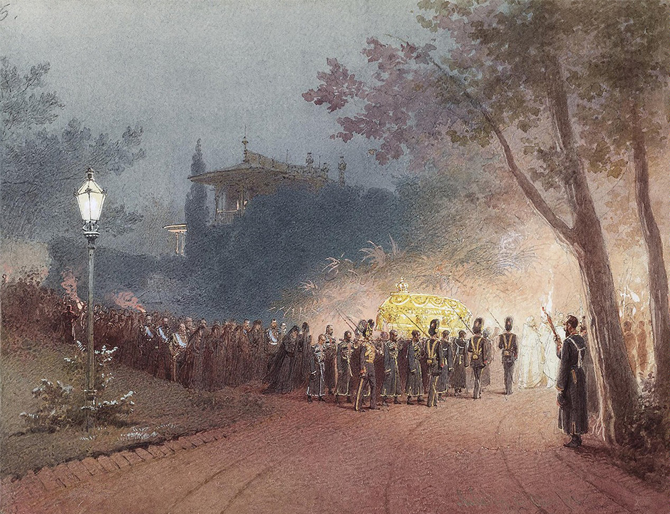 """1869 saw an exhibition of his works. Five years later, in 1874, he departed for Paris, where, inter alia, he was commissioned by the Hungarian government to paint """"Austrian Empress Elizabeth Lays a Wreath on the Coffin of Deak,"""" in addition to which he published pictures in illustrated journals."""