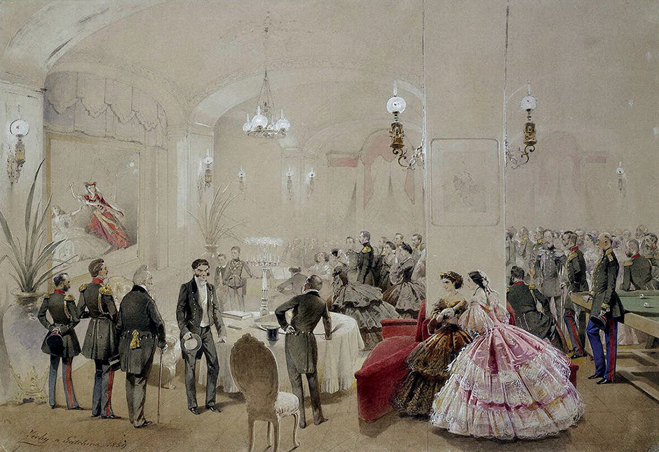 Prior to that, in 1856, he had created a series of major watercolor sketches of the coronation of Emperor Alexander II, for which the St. Petersburg Academy of Arts awarded him the title of academician.