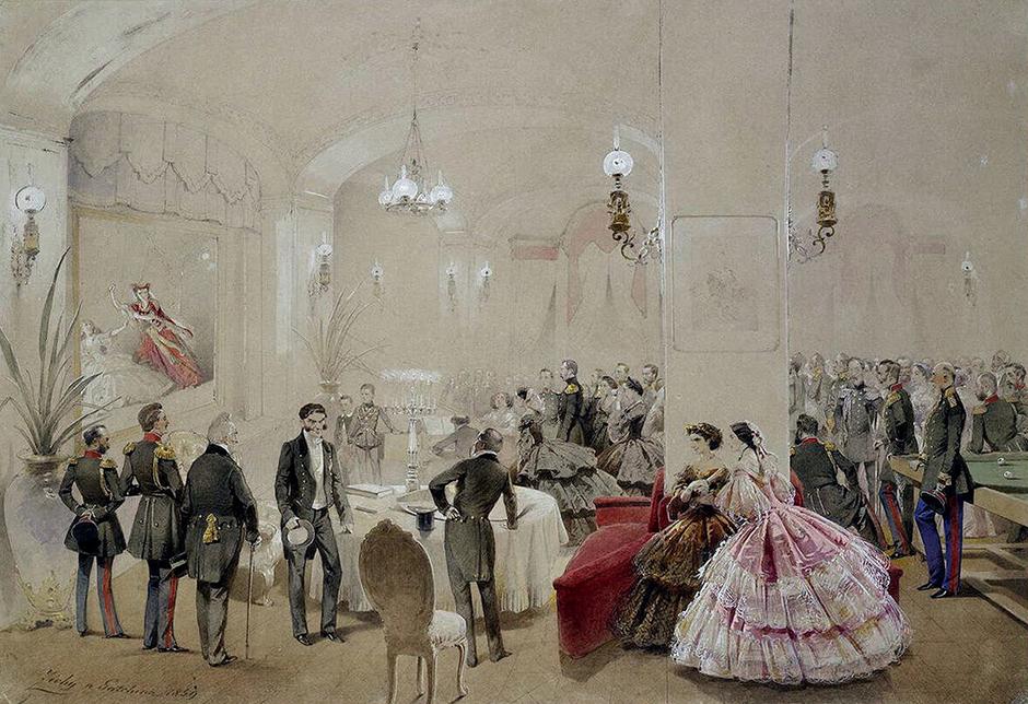 宮廷画家になる前の1856年に、彼はアレクサンドル2世の戴冠式を題材とした大規模な水彩画シリーズを描き、サンクトペテルブルク美術院から会員の称号を与えられた。