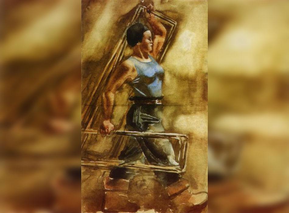 """Ъглите и перспективите на акварелите на Самохвалов са енергични, а субектите му приличат на храбри женски бойци от старите руски епоси. В """"Момиче носи арматура"""" походката на модела е уверена, но и лека, а контурите на арматурата, които разделят равнината на платното, подсилват вътрешната динамика на композицията. / """"Момиче носи арматура"""", 1934."""