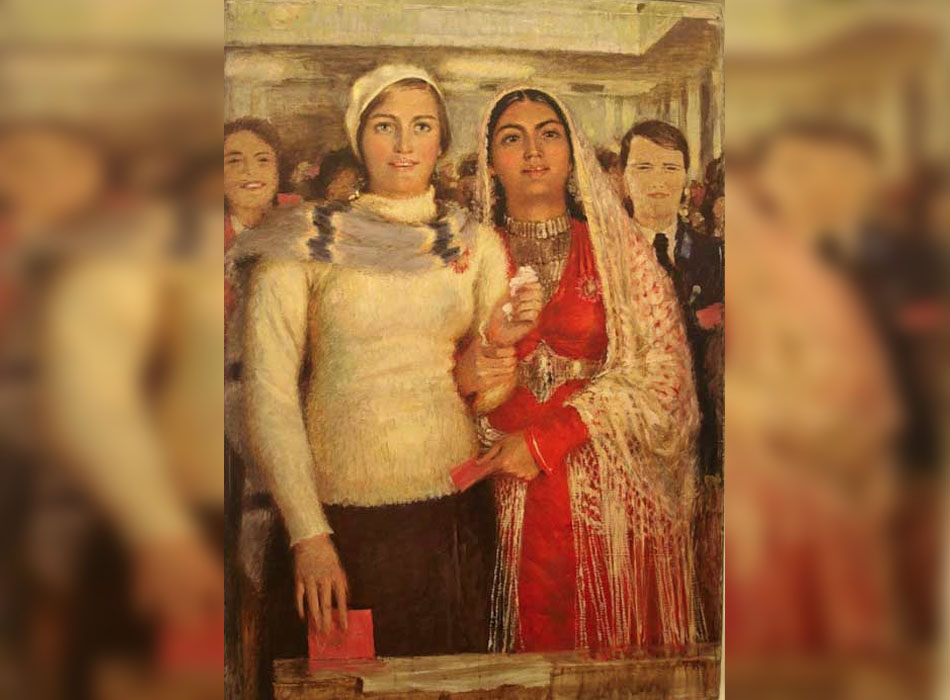 """През 1930-те в йерархията на """"законните"""" женски образи достойно място е отделено на изображението на работещата майка. Има и други образи, които оставят почти архетипен отпечатък в съветското съзнание: студентката по техника, работничката във фабрика, фермерката, спортистката. В рамките на тези изображения художниците са свободни да правят каквото поискат. / """"Делегатки"""", 1939."""