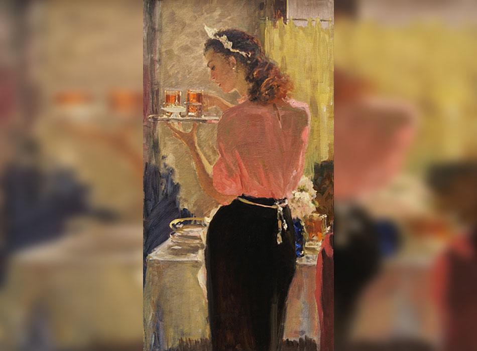 """Съветското изкуство през 1920-те години е почти лишено от еротика. Тогава въздухът все още е свеж: авангардът замира, а фолклорът вярва в уюта, общите занимания и споделената любов. На дневен ред е един свободен и весел нрав и голото тяло не се възприема като нещо интимно. / Сервитьорка. Подготвителна рисунка за картината """"Среща на Приятели"""", 1945."""