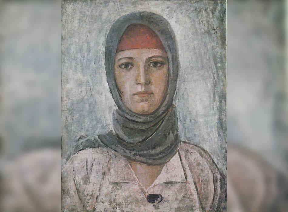 """От края на 1920-те вътрешната политика започва да """"затяга режима"""". Много художествени теми и техники са забранени. Всичко извън сферата на соцреализма е с етикет """"жалко"""" и """"еснафско"""". Това включва и жанра на голата живопис, която скоро е категоризирана като дребнобуржоазна. / Млада работничка, 1928."""