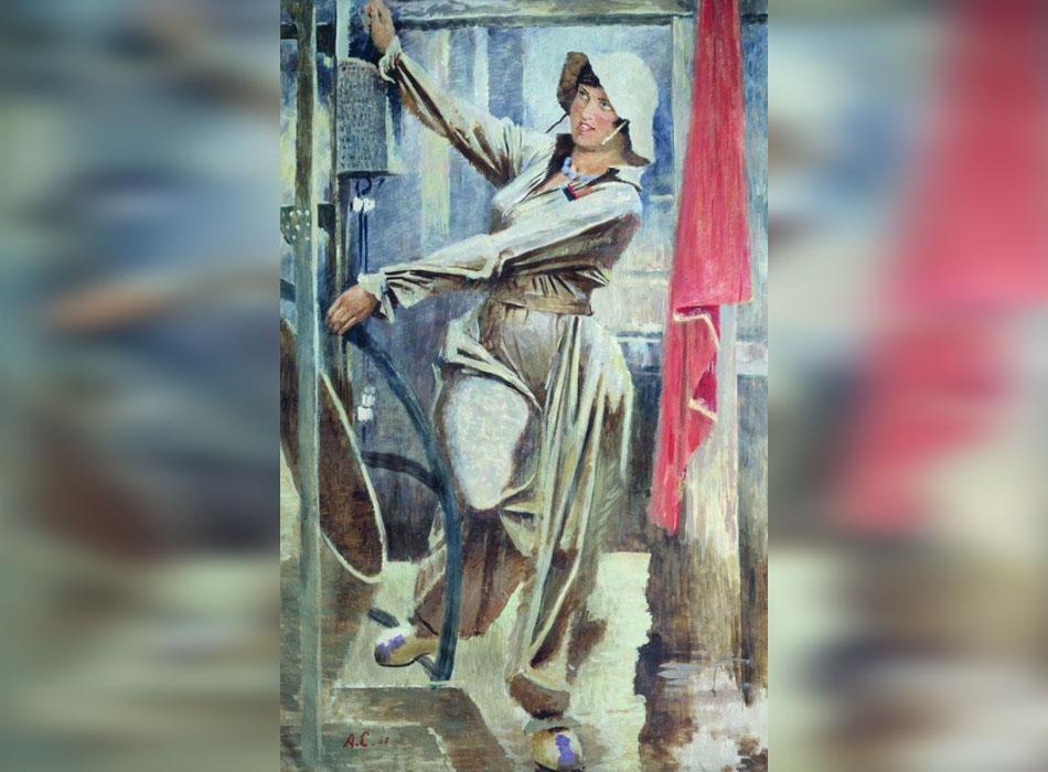 """Комсомолките са сред първите доброволци. Те вдъхновяват художника Александър Самохвалов, последовател на прочутия Петров-Водкин. Неговата известна акварелна поредица """"Строителки на метрото"""" е показана за първи път на изложба в Ленинград през 1934 година. / """"Строителки на метро на бетонобъркачката"""", 1937."""