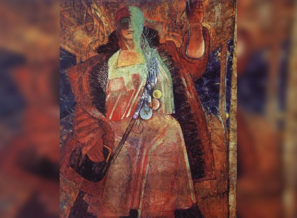 """Самохвалов се надява, че акварелите и графиките му ще бъдат използвани като основа за стенописите в Московското метро. Някои от тях действително по-късно са използвани за създаването на скулптури, които красят метростанцията """"Площад Революция"""". Но не от него и не толкова брутално. / """"Контрольорка"""", 1928."""