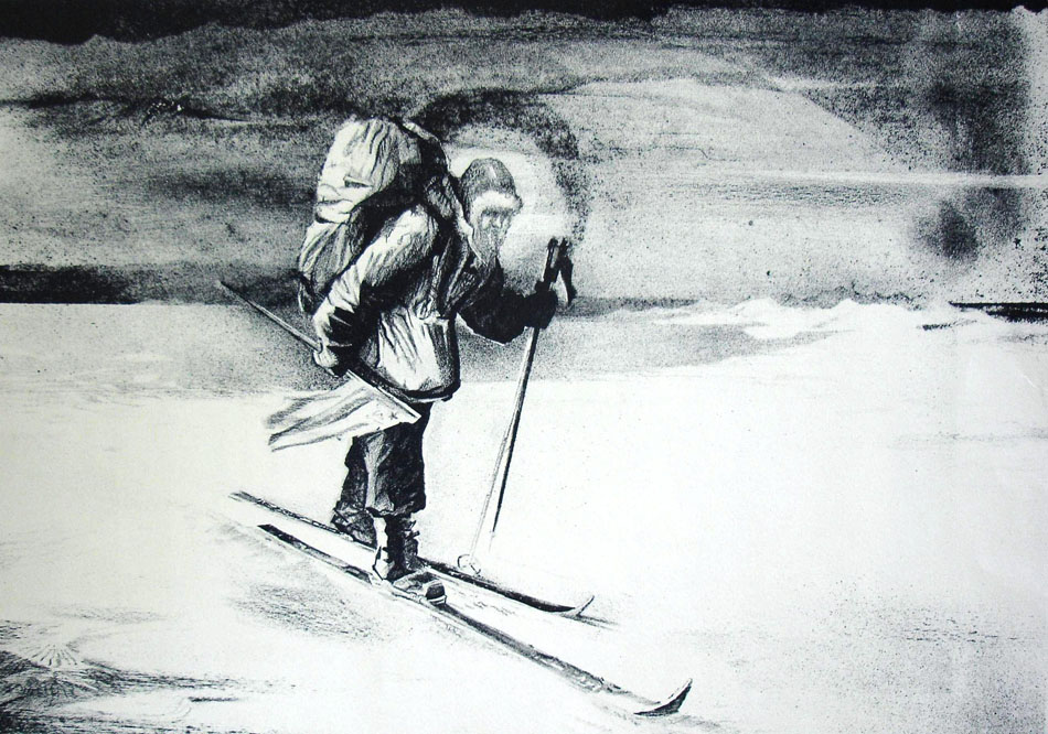 """Fyodor Konyukhov's creative process as an artist is based on the synthesis of man and nature into a single form. In the five years he lived on the Chukotka Peninsula, Konyukhov sketched hundreds of pages on the theme """"The Daily Life of the People of the North"""". // The Path to the Pole, 1984"""