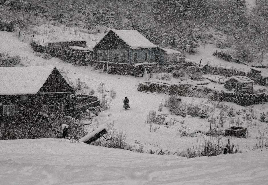 """""""Pada snijeg"""". Prvi snijeg pada u selu okruženom gustom šumom nedaleko od Jeniseja. Nepoznata osoba ušla je u kadar kao po dogovoru."""