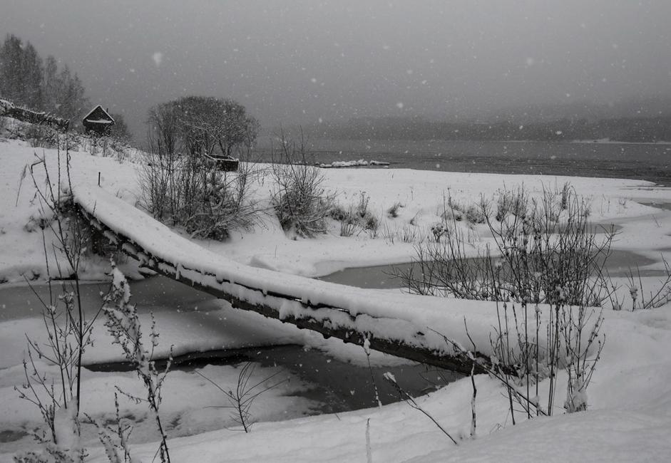 """""""Pješački most"""". Sniježi na rijeci Jenisej. Sve je prekriveno bijelim pokrovom i vide se samo rijeka i gusta šuma na obali."""
