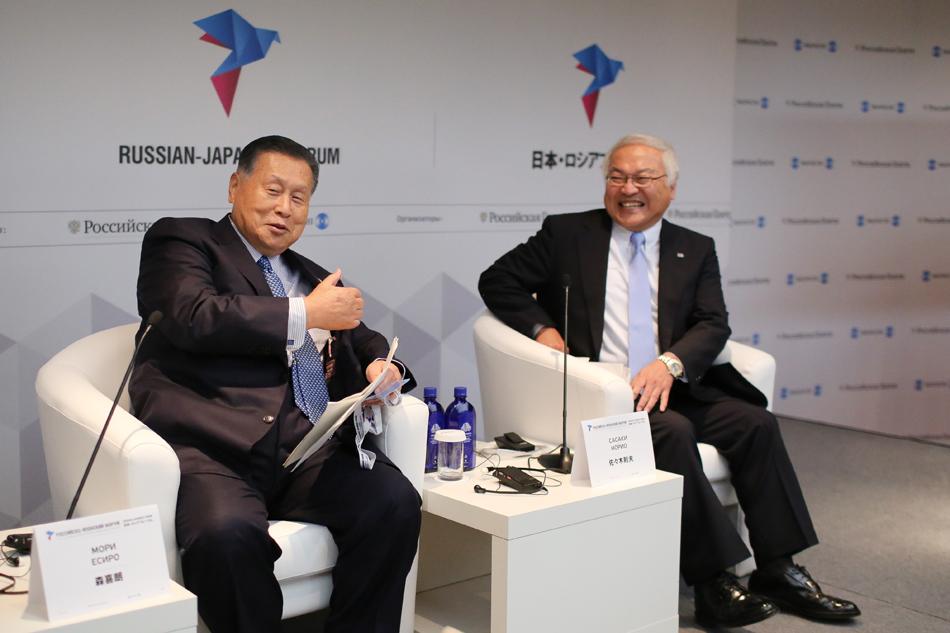 元首相森喜朗と日本経済団体連合会副会長佐々木則夫