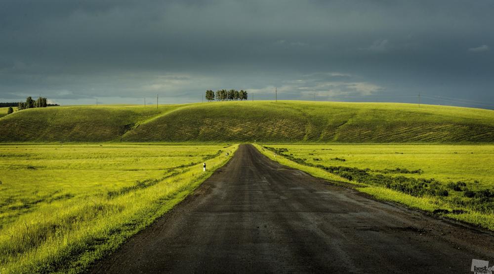 Estrada pelos vastos campos da Basquíria