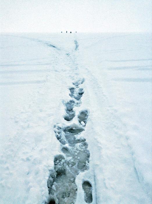 Samo nekoliko zaljubljenika u zimski ribolov, nalik pingvinima, vidjelo se na horizontu.