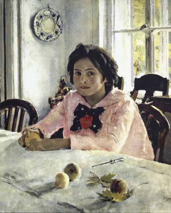 "1887 saw the appearance of Serov's most famous painting, ""Girl with Peaches,"" (1887) which shows Vera, the daughter of renowned philanthropist and collector Savva Mamontov. No other Russian artist ever conveyed the poetry of youth with such captivating freshness or masterful technique. // Girl with peaches, 1887"