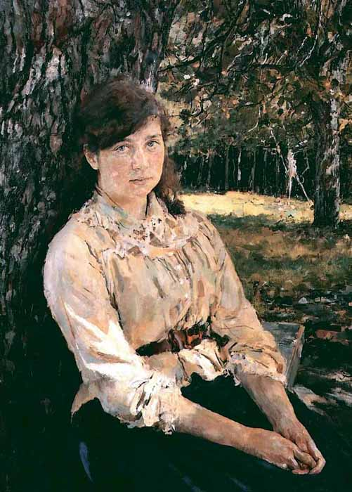 "His next picture, ""Girl in Sunlight,"" is also a celebration of youth, freshness and tranquil joy — a distinctive step towards post-impressionism in which the focus is on the unison of man and nature. ""All I've ever sought is the freshness that you feel in nature but don't see in pictures."" // Portrait of Maria Simonovich, 1888"