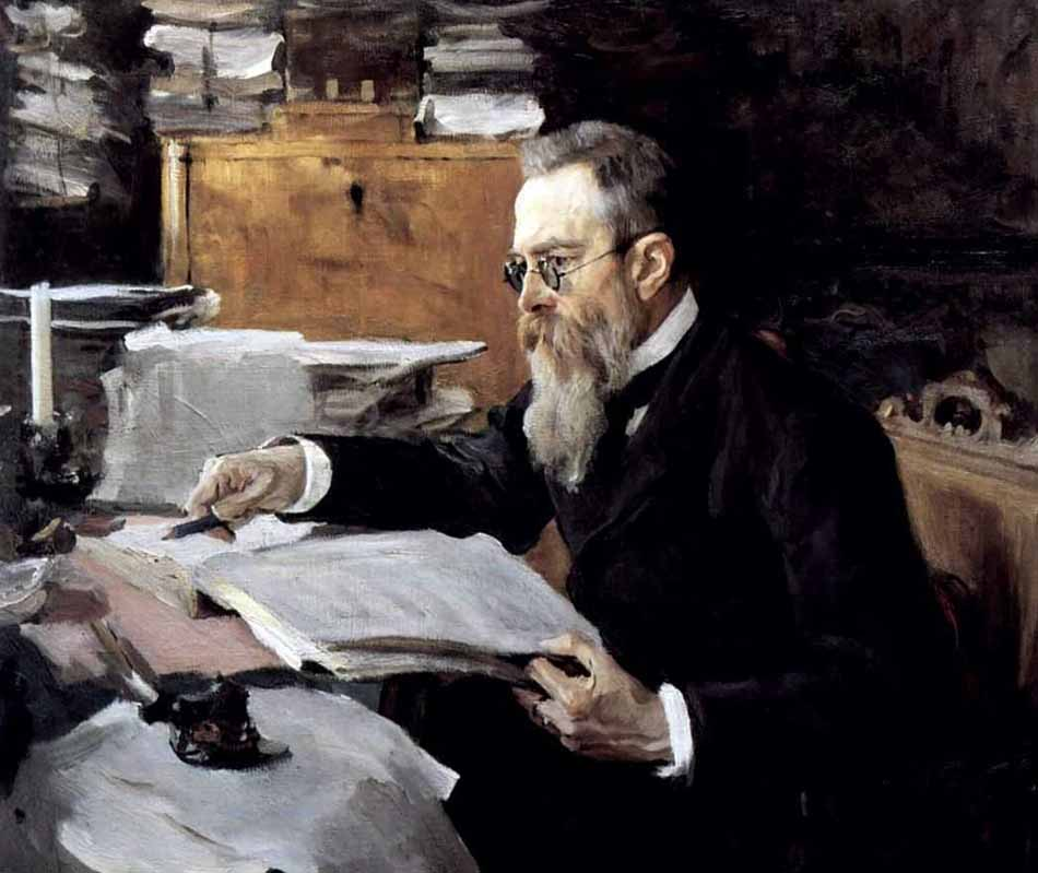 Many ceremonial portraits at the time were painted according to a template. Having found a formula that worked, artists used it repeatedly, depicting their subjects in the same poses time and again. // Portrait of composer Nikolay Rimsky-Korsakov, 1898