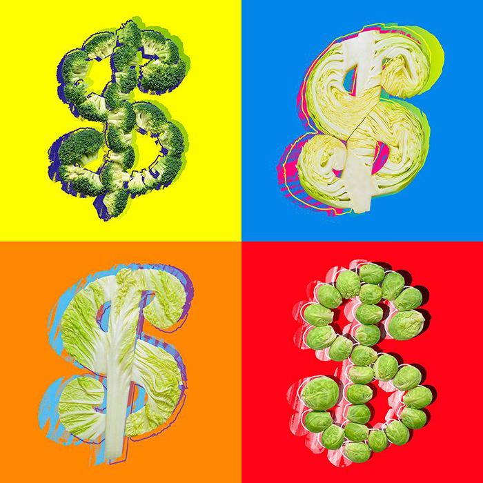アンディ・ウォーホル、『ドル記号』、1982年。「ウォーホルは多彩な色や背景の多様なバリエーションのドル記号を描いた。このセレクションがその結果である。私にとって最も面白かったのは、異なる色の「キャベツ」(ロシア語の俗語で「お金」を意味する)でドルサインを作る方法を考案することだった。その過程で私を楽しませてくれたのは、ちょっとしたいたずら心だった」