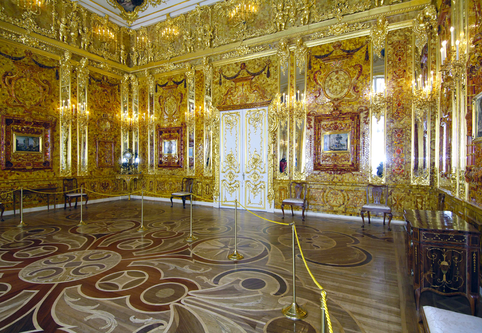 From the Portrait Hall you can reach the Amber Room, the gem of the Catherine Palace and a sight that has been justifiably called one of the wonders of the world. The priceless room was looted by Nazis during WWII and the original wallas have been missing ever since.