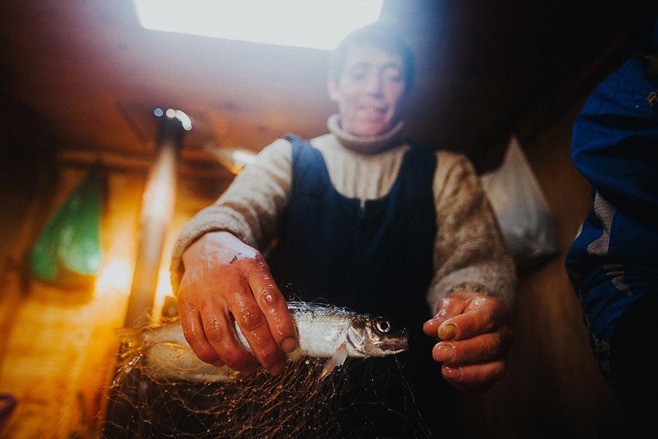 """""""Danas više nema tako puno omula u Bajkalu. Prije smo u jednoj mreži vadili i više od tonu ribe!"""" kaže jedan ribar."""