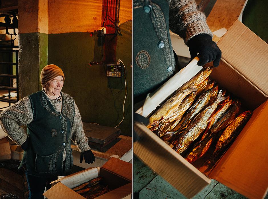 Nadežda Pavlovna radi u sušionici u Hužiru. Upravo ona prodaje poznatog Bajkalskog hladno-sušenog omula cijeloj zemlji.