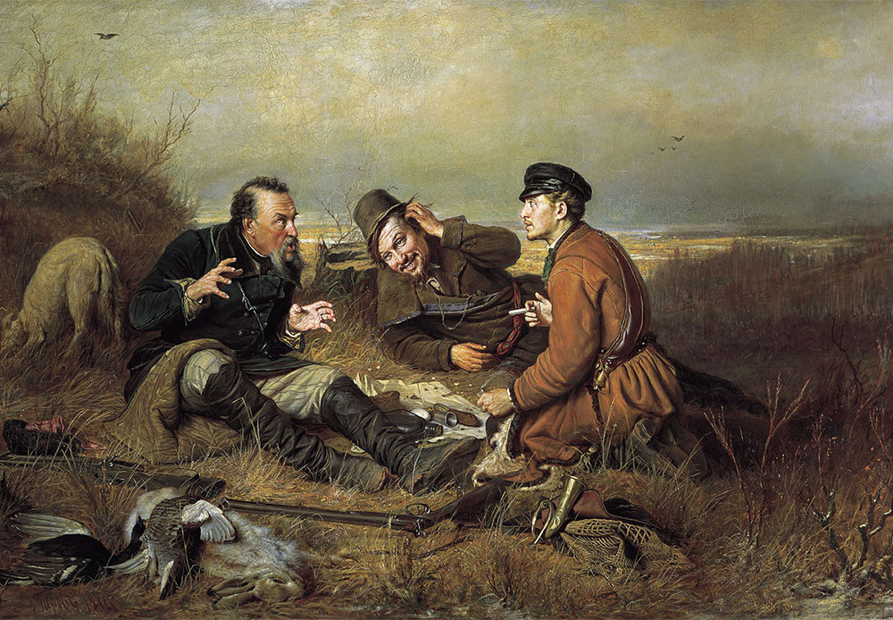 Hunters at Rest. Vasiliy Perov, 1871 / Vasiliy Perov was a passionate hunter, so all his hunting themes are totally authentic. The three hunters are different: the one on the left is an old hand who likes to spin a yarn about his hunting exploits, the second has doubts, while the third is a credulous newcomer.