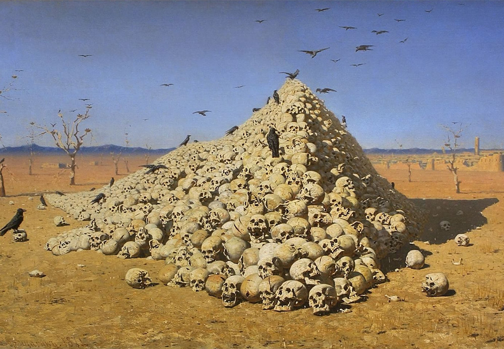 「戦争の結末」ヴァシーリー・ヴェレシチャーギン、1871/人間の頭蓋骨のピラミッドは、戦争の破壊力を伝える。