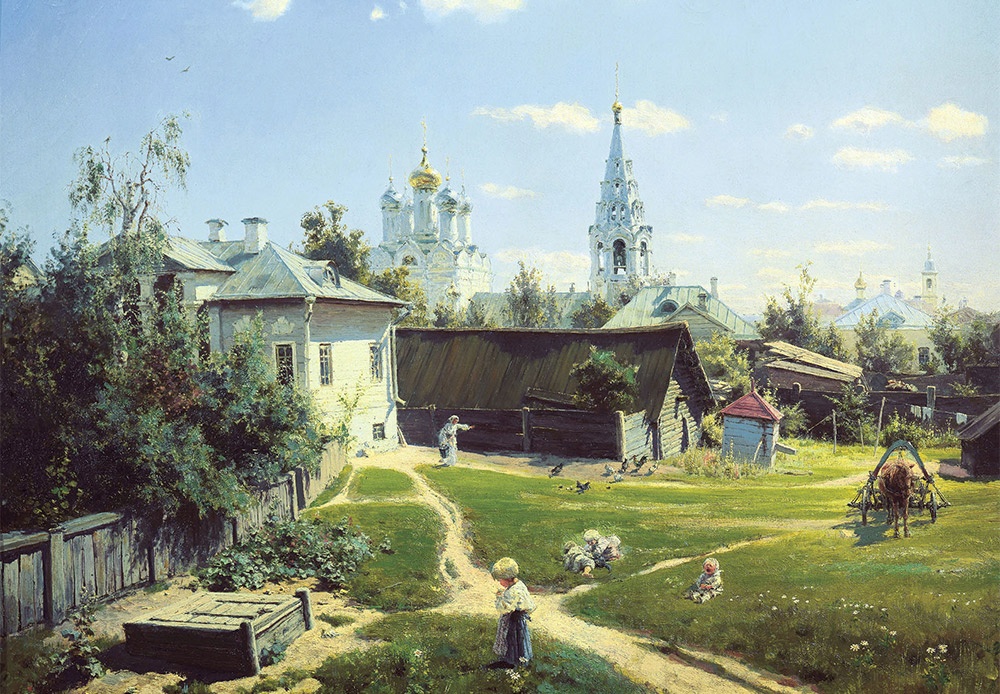 Ein Hof in Moskau. Wassili Polenow, 1878. Polenows berühmtes Gemälde zeigt das einfache traditionelle russische Leben. Die Kirche im Bild steht noch immer auf dem Arbat, mitten im Zentrum von Moskau.