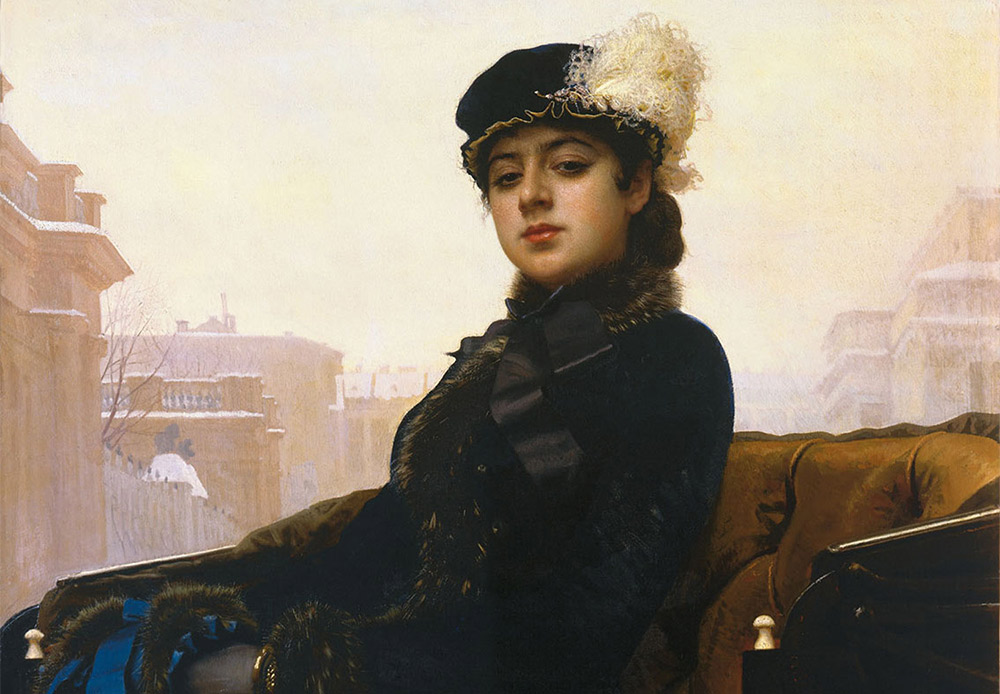 Unknown. Ivan Kramskoi, 1883 / This painting of an unnamed woman is intriguing. She is not a beauty in the traditional sense, yet striking, chic and dressed according to the latest fashion.