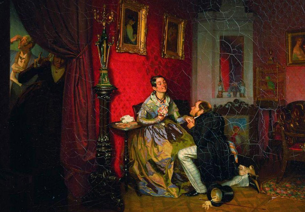 「選り好みする花嫁」パーヴェル・フェドートフ、1847 /パーヴェル・フェドートフの作品は、ロシアの村人の日常生活を描写することで有名。