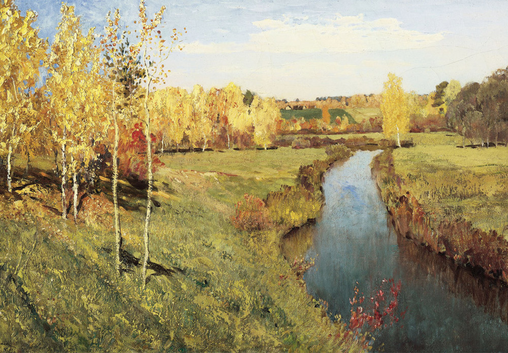 Golden Fall. Isaak Levitan, 1895 / A very bright view combined with a free impressionist manner of painting.