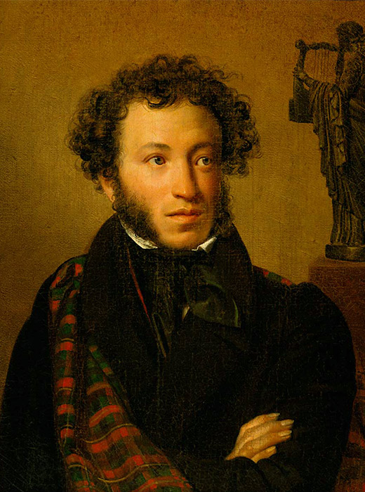 Portrait of Alexander Pushkin. Orest Kiprensky, 1827 / Contemporaries called Pushkin the 'sun of Russian poetry'. An important detail: there is a statue of the Muse with a lyre just behind the poet.