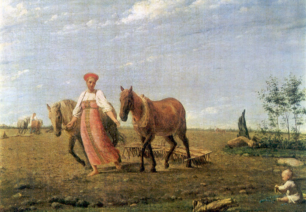 Spring, On Ploughed Land. Alexey Venetsianov, 1820s / This painting depicts the pure beauty of the archetypal Russian woman. The child in the picture is a symbol of fertility. The woman almost seems to be floating above the ground, moving slowly and gracefully.