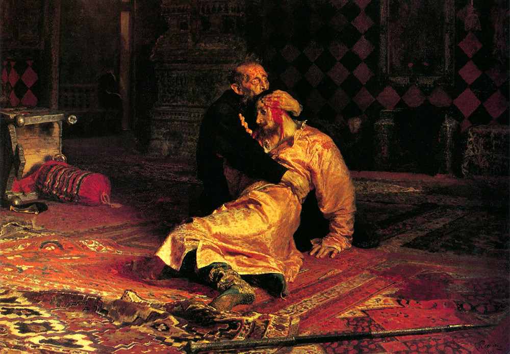 Ivan the Terrible Killing his Son. Ilya Repin, 1885 / The painting tells the story of Czar Ivan IV, who in a fit of anger kills his son.