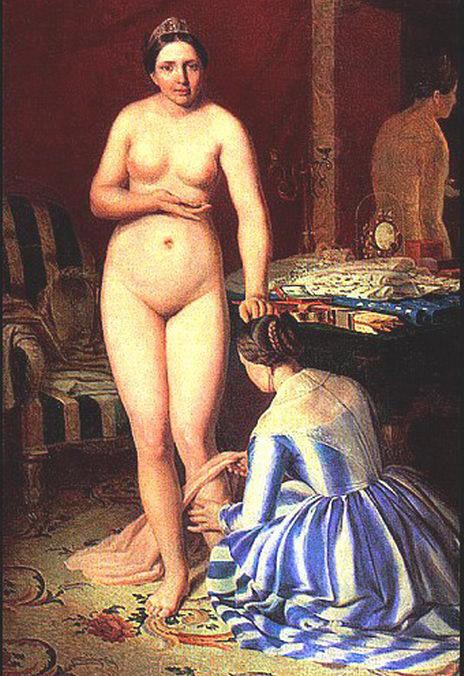 『服を着るディアナ』、アレクセイ・ヴェネツィアーノフ1840