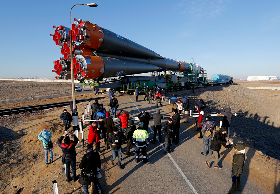 Russia's Soyuz-FG booster rocket with the space capsule Soyuz TMA-16M