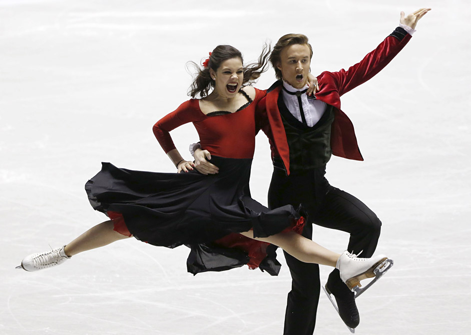 Elena Ilinykh and Ruslan Zhiganshin of Russia compete during the ice dance short dance program at the ISU World Team Trophy in Figure Skating in Tokyo April 16, 2015.
