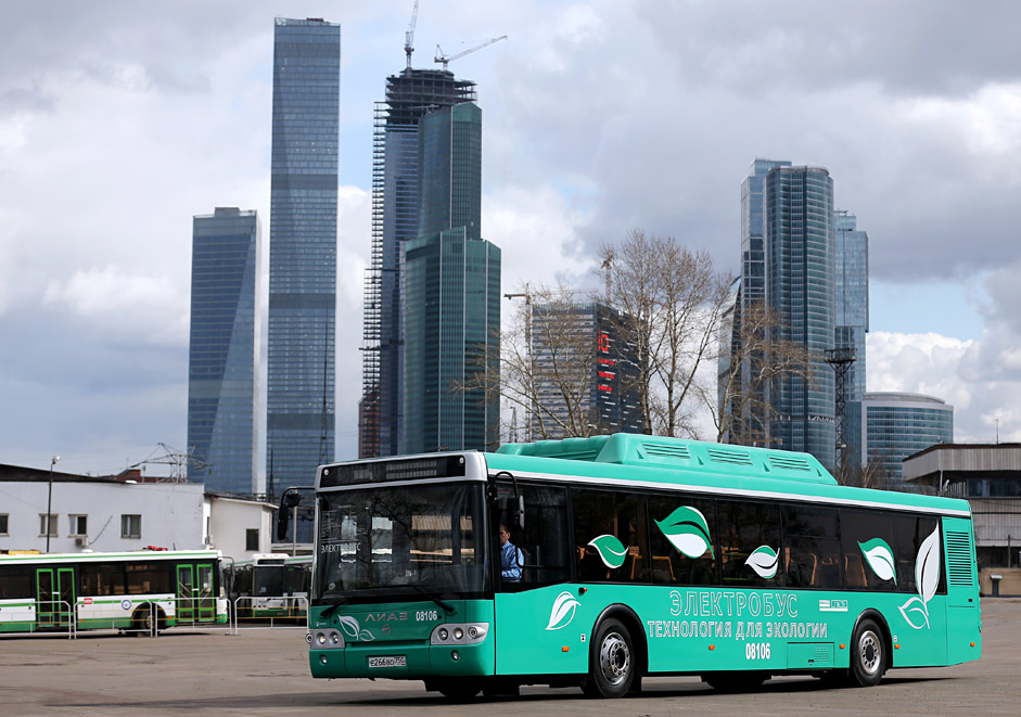 The first electric bus unveiled at bus terminal 8 in Moscow.