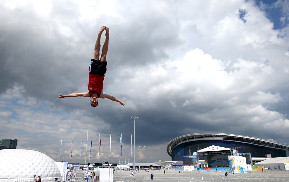 A man doing tricks in the FINA Water World Park by the Kazan Arena Stadium ahead of of the 2015 FINA World Swimming Championships