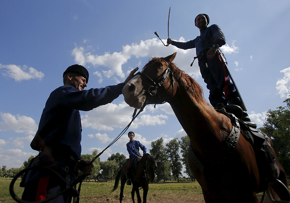 Cossacks show their skills in the village of Starocherkasskaya nearthe city of Rostov-on-Don.