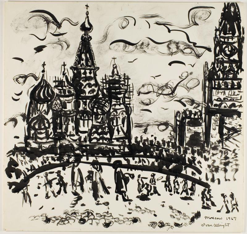 イヴァン・オルブライトはアメリカ人芸術家・画家・素描家だった。彼は世界中を幅広く旅行し、常に微細なディテールに執着した。彼は米国にあるアトリエの壁を黒に塗り、描画の邪魔にならないように必ず黒い服を着た。彼は、モスクワを描くにあたっていつもと同じ厳格な方法を用いた。『モスクワ』、イヴァン・オルブライト、1967年